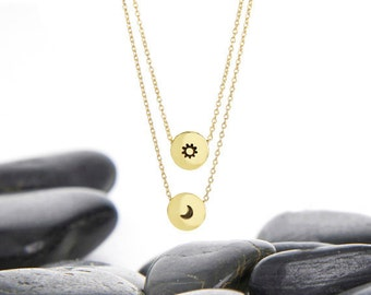 Sun, Moon, Sun Salutation, Moon Necklace, Moon pendant, Moon phase, crescent moon, spiritual jewelry, layer Necklace, n249b
