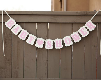 BABY SHOWER banner for Baby Showers, Girls Banners, Girl Sign | Cream & Pink