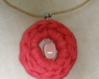 crocheted strap pendant coral