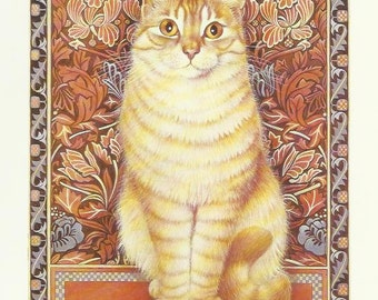 Ginger Cat by Lesley Anne Ivory 1989 colour cat print Wall Art Home Decor Feline Print