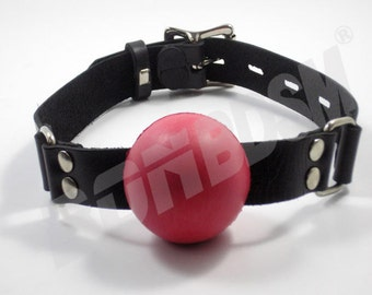 """Red Silicone Ball Gag - NOT FROM RUBBER - 2' inches / 50mm"""" Mouth Plug - Genuine Leather, Mature"""