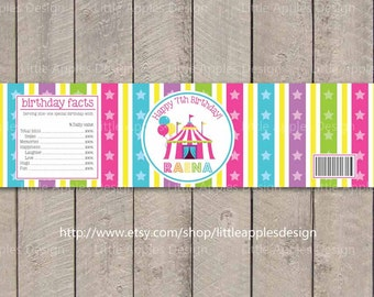 Pink Circus Water Bottle Labels / Pink Carnival Water Bottle Labels /  Circus Water Bottle Labels / Circus Printable / Carnival Decoration