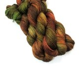 Hand Dyed Yarn, Alpaca Silk Sport, Green Brown Copper Autumn - FiberFangirl