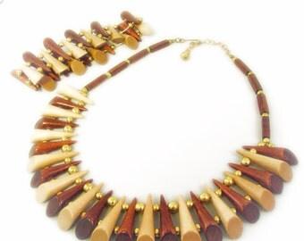 Mixed Wood Spiky Necklace and Bracelet Set