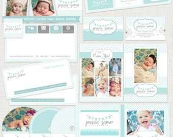22 PIECE Marketing Set / Photography Marketing Set / Branding Templates, soft turquoise blue - editable layered  PSD - Instant Download