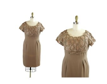 SALE 1950s Vintage Dress / 50s 60s Brown Wiggle Dress Plus Size