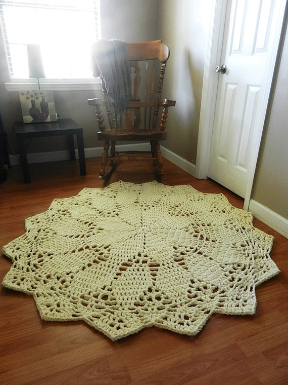 Crochet Doily Rug Floor Ecru Off White Beige Lace By