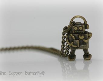 Little Love Bot - The Geekery Nerd Collection - Antique Bronze Robot Necklace - 6140201