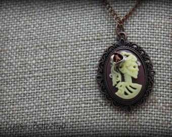 Anise - Death Becomes Her Collection - Copper, Brown & Yellow Skull Cameo Necklace, Skullita, Macabre, Goth, Day of the Dead - 6140224