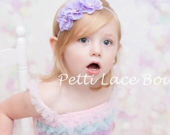 LAVANDER headband, skinny band Baby headband, newborn, toddler, girls hair bows,Shabby chic flower, Chiffon flower, flower headband
