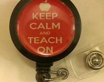 Keep Calm Teacher Retractable Badge Holder