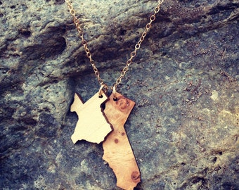 ROCK YOUR ROOTS Necklace // Salvaged Wood Jewelry // State or Country Shape Necklace