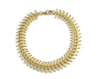Gold Fishbone Chain Bracelet, Gold Chain Bracelet