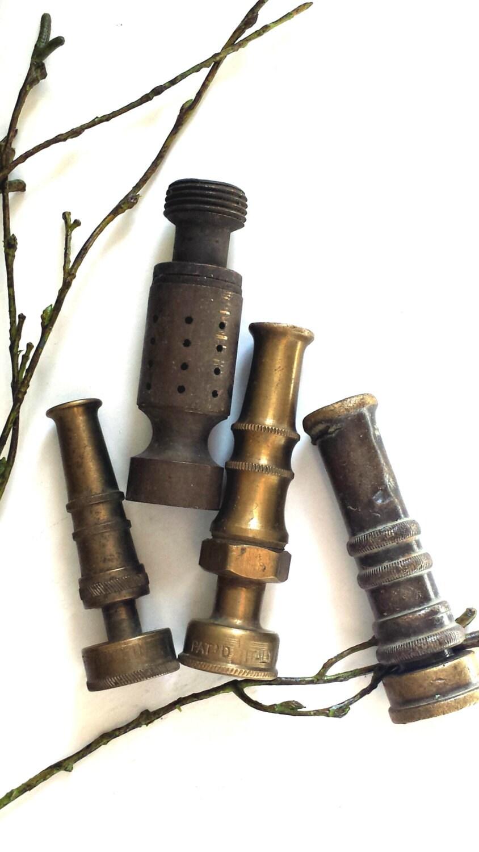 Vintage Brass Water Hose Spray Nozzles Antique Garden Tools