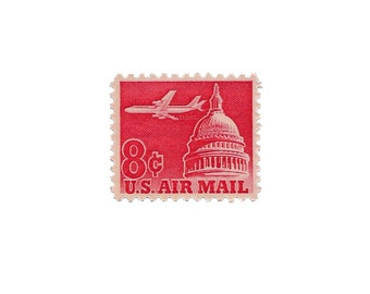 Set of 10  /////  1962 Vintage US Air Mail Stamps Ready to Use