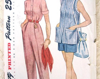 Vintage 50s Summer Blouse Shorts & Pants.  Simplicity 3223 Sewing Pattern. Size 14