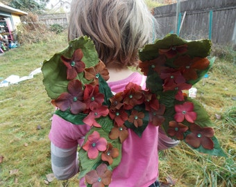 Flowery Brown and Green  Fairy Wings (child size), Child Fairy Wings, Woodland Fairy Wings, Fairy Dress Up, Festival Costume for kids