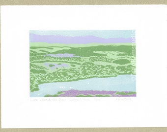 Lake Windermere from Gummer's How - Original Limited Edition Linocut Reduction Print