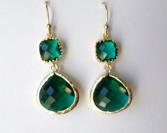 Set of Five Pairs of Emerald Earrings - Emerald and Gold Earrings