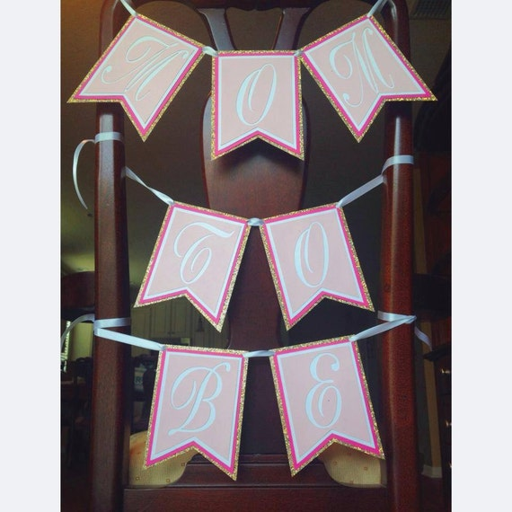 mom to be chair banner baby shower banner pink and gold decorations