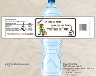 Halloween Water Bottle Label , Pirate Labels, Pirate Stickers, Halloween Labels, Halloween Stickers, Halloween Party (Set of 20)(Y177)