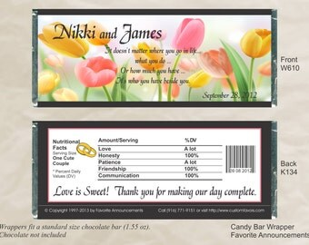 Wedding Chocolate, Spring Wedding Favors, Tulip Shower, wedding favours, chocolate bar wrapper, candy buffet, 50th Birthday Set of 12)(W610)