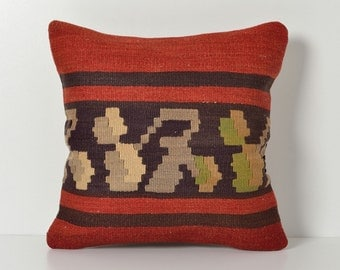 Kilim Pillows - Kilim Cushion Cover Kilim Pillow Cover Red Brown Modern Bohemian Throw Kilim Pillow Cover Decorative Kilim Pillows