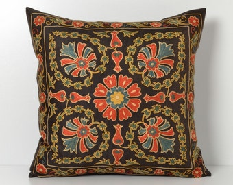 Suzani Pillow Cover - Black Hand Embroidered Vintage Silk Suzani Pillow - Decorative Pillows For Couch - Throw Pillow - Silk Pillow