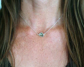 Bezel Set, Silver Necklace, Sterling Silver Chain, Faceted Stone, Erinite