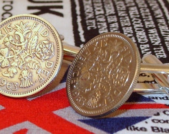 Boxed Pair Vintage British 1963 Lucky Sixpence Six Penny Coin Cufflinks Wedding 52nd Birthday Anniversary
