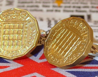 Boxed Pair Vintage British 1959 Threepence 3d Coin Cufflinks Wedding 68th Birthday