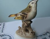 Bird Figurine by Lefton China - Ruby Crowned Kinglet - Vintage 1980's Bird Decor