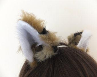 Brown Black Wolf Fox Coyote Husky Werewolf Fluffy Faux Fur Cosplay Furry Ears Hair Clips Headband Halloween Costume Fursuit Luxury Realistic