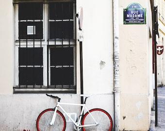 Paris Photography - Paris Print, Paris Bicycle Photo, Paris Decor, Home Decor, Rue Madame, Bicycle Photograph