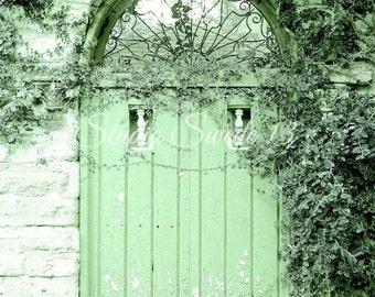 """Door Photography, Door Art, Green Door Print, Architectural Art, Rustic Home and Garden Art, St Augustine Farmhouse- """"Apple Green Cottage"""""""