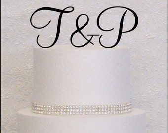 Script Initials Monogram Wedding Cake Topper in Black, Gold, or Silver