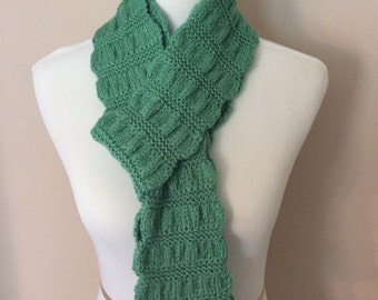 Scarf, Hand Knit Scarf, Green, Gathered