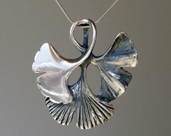 Ginko leaf sterling silver pendant.