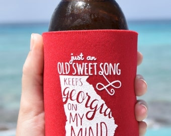 Georgia On My Mind Can Cooler Beer Cozy in Red