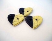 Button heart ceramic raku yellow - Set 3 pieces - handmade - europeanstreetteam
