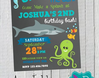 Chalk Ocean Birthday Invitation Printable -4x6 or 5x7