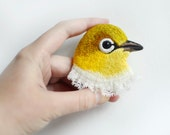 small lifou . yellow . bird . brooch . handmade . felt . needle felted . hand embroidered . animal