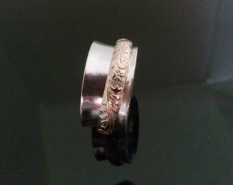Unisex Patterned Spinner Ring For Relieving Stress and Meditation, wedding band Hand made with Sterling Silver and 14K Gold Filled.