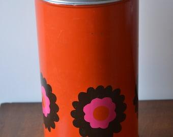 Vintage Brabantia biscuit canister in orange, including pick up device