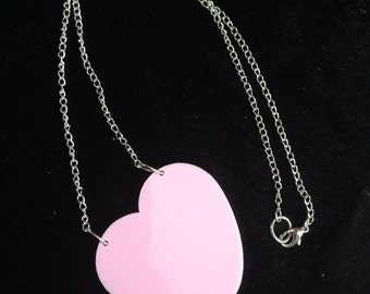 Baby pink perspex Iove heart necklace summer shabby chic perspex acrylic laser cut tatty