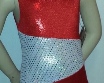 Toddler Gymnastics Leotard, Girls Size 2 - Shiny Red Shimmer & White Sparkle Asymmetrical Gymnastics and Dance Leotard