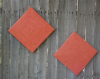 Wall Decor, Coral, Tin, Distressed, Hand Painted, Metal, Shabby Chic, Upcycled