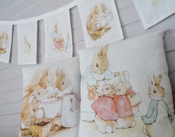 3pc SET Beatrix Potter Peter Rabbit Benjamin Bunny Pennant Banner 5' Bunting & Pillows Baby Room Easter Spring Decor