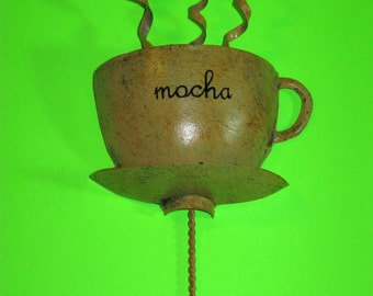 "8"" Tall Metal Mocha Coffee Cup Wall Hook for Hat/Jacket/Keys/Towel/Purse"