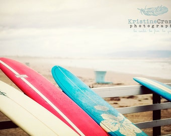 Ocean, Pacific Ocean, Surfing, Surf Boards, California, Summer, Vintage Style Art, Photographic Print, Kristine Cramer  Photography